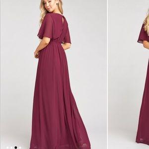 Show Me Your Mumu Emily Maxi Dress Merlot Chiffon